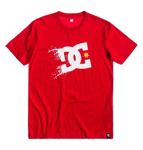 DC Shoes Screenline-Maglietta a maniche corte da uomo con Logo, motivo: esplosione stellare rosso S