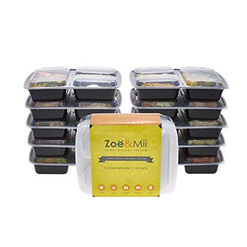 (Pacco da 10) Contenitori alimentari a 3 scomparti premium per la preparazione dei pasti | Sicuri per il microonde | Sicuri per lavastoviglie | Sicuri per il Congelatore | Riutilizzabili | Contenitori alimentari Bento | Bento Lunch Box| Tupperware| da Zoe&Mii