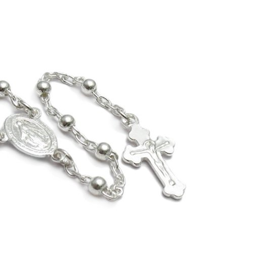 Bling Jewelry 925 Sterling Silver Rosary Beads Crucifix Necklace