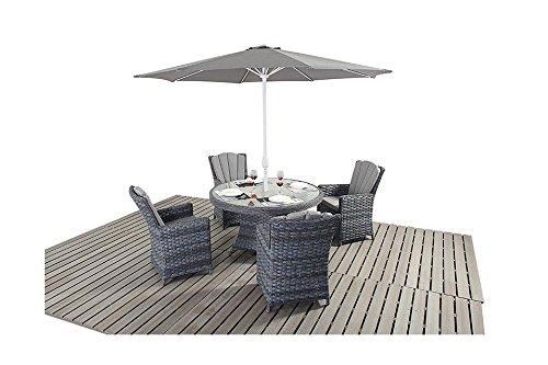 Manhattan grau Rattan Garten Möbel 4-Sitzer-rund Esstisch Stühle, Set