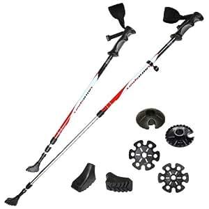Ultrasport Bâton 3 en 1 Trekking/Marche/Ski Anti-choc Longueur 71-145 cm Anneaux réfléchissants
