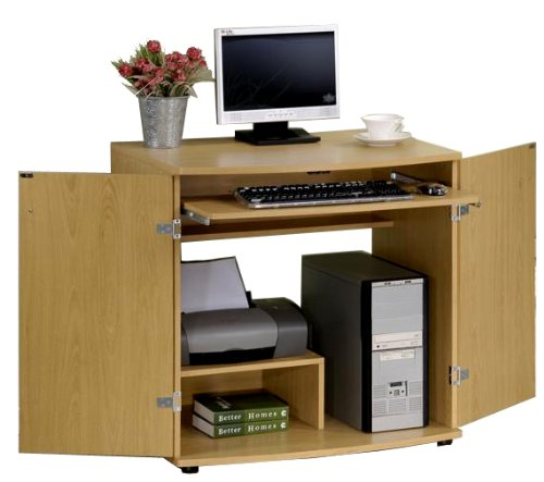 Furinno Space Saving Home Laptop Notebook Computer Desk/Table Armoire, Beech Finish, KM-5015