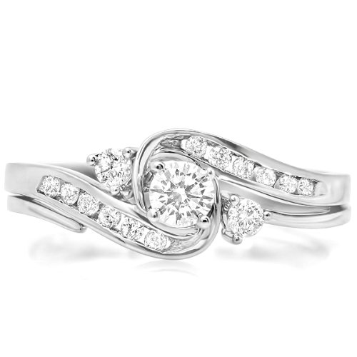 0.50 Carat (ctw) 10k White Gold Round Diamond Ladies Swirl Bridal Engagement Ring Matching Band Set