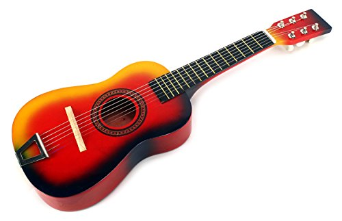 Learn & Play Wooden Classic Acoustic Beginners Kid's 6 Stringed Toy Guitar Instrument, Comes with Guitar Pick, Extra Guitar String (Red-Orange)