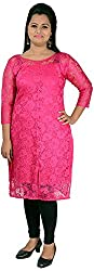 NelNik Women's Net Kurta (Nel040_Medium, Pink, Small)