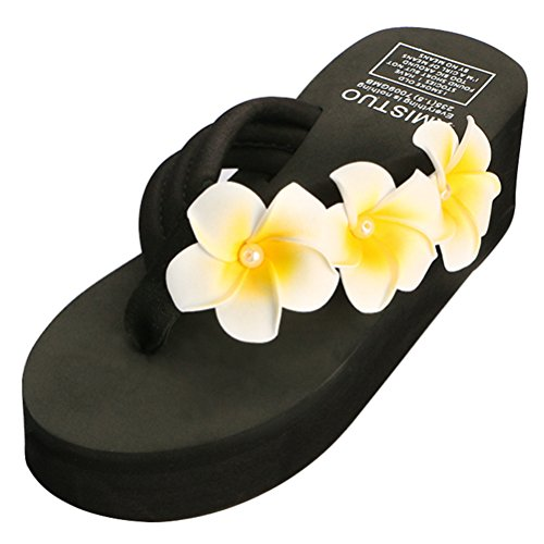 Langforth Women's Plumeria Platform Wedge Flip Flop Thong Sandals