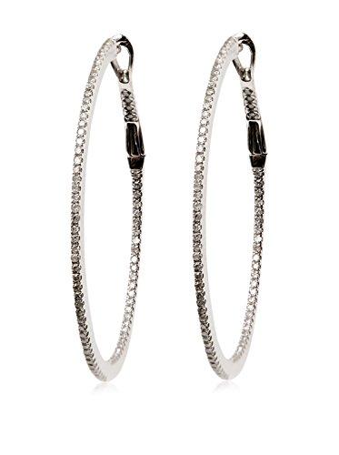 Socheec 18K White Gold & Diamond Hoop Earrings