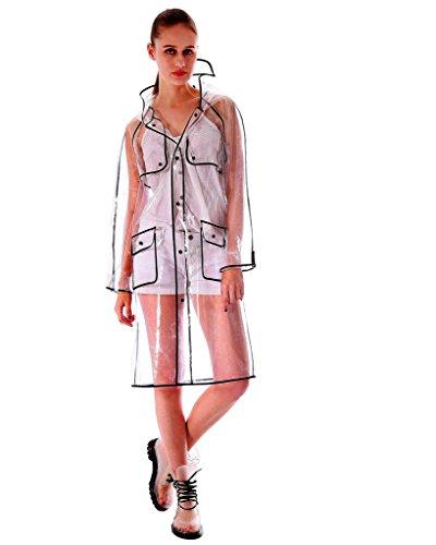 Yuding Women's Transparent waterproof Eva Hooded Black Hem Rain Jacket Size Large