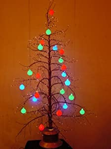 """Christmas Concepts Ltd 60"""" Brown Fibre Optic Twig Tree With Multi Coloured Baubles (5ft)"""