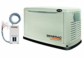 5873 Generac Guardian 17kW Air-Cooled Standby Generator, Steel Enclosure, Pre-Packaged w/16 Circuit Automatic Transfer Switch