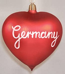 Germany Heart German Glass Christmas Ornament
