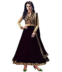 OMSAI FASHION Women's Black net Embroidery semi stitched Free Size Salwar Suit (Women's black Indian Clothing )