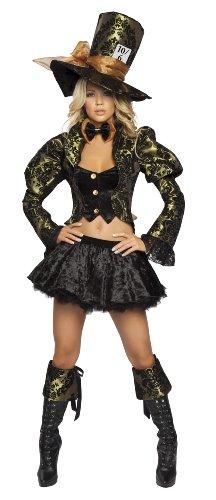 Roma Costume 4 Piece Tea Party Tease As Shown, Green/Black, Medium/Large