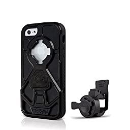 Rokform Sport Series Bike Mount Kit and Rugged Sport Protective Case, Safely lock your phone in place with the Quad Tab and Magnetic Mount System, for Apple iPhone SE, 5/5s (Black)