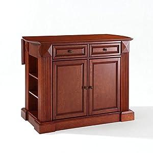 Crosley Furniture Drop Leaf Breakfast Bar Top Kitchen Island In Classic Cherry Finish