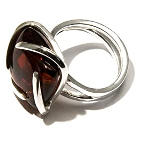 Sterling Silver and Certified Cherry Amber Universe Look Ring