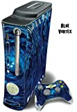 Protective Skin Decal Cover for Xbox 360 Console + two Xbox 360 Controllers Sticker - Blue Vortex
