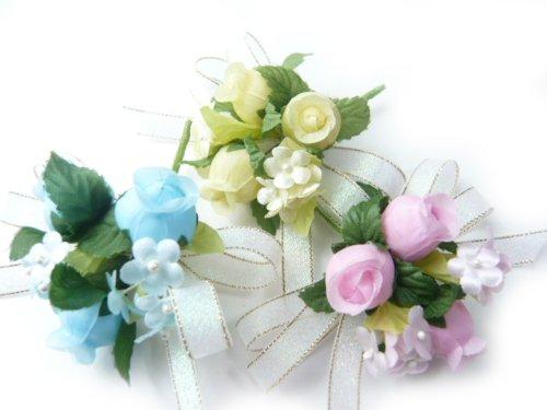 手作りキット・花飾り・胸花・造花◆パールリボンのコサージュキット ブルー