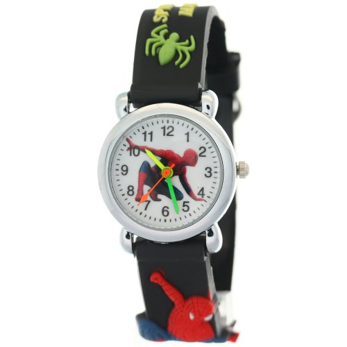 TimerMall Black Rubber Band Spider Man Pattern Dial Analogue Children's Watches