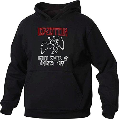 Art T-shirt, Felpa Con Cappuccio Led Zeppelin, Uomo, Nero, L