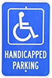 """SmartSign 3M Engineer Grade Reflective Sign, Legend """"Handicapped Parking"""" with Graphic, 18"""" high x 12"""" wide, White on Blue"""