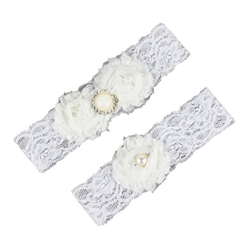 CLOCOLOR Women's 2 Piece Set Beaded Lace Bridal Wedding Garters with Chiffon Flower