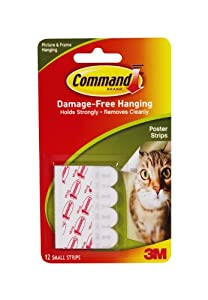 3M Company Command 17024 Poster Strips w/Adhesive, 12/Pkg: White