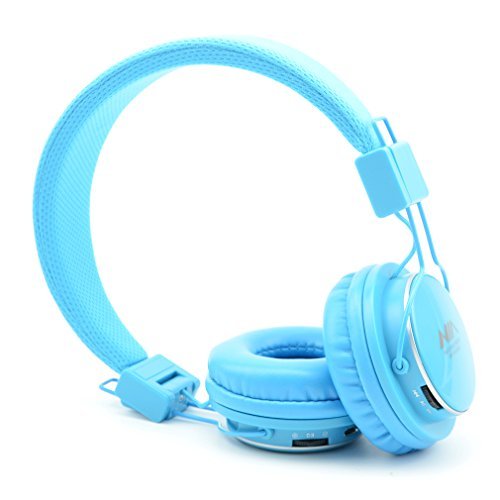 Granvela A809 Foldable Headphone Headset New Fashion Brand Music Player Wireless Handsfree Headset Headphones Earphone,Support Tf Card Fm Radio Monitor Portable Audio Pc _Sky Blue