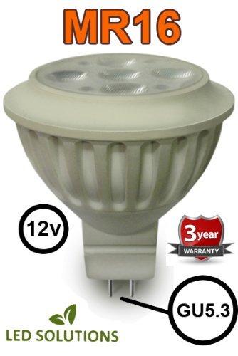 Led Solutions 6W = 50W Super Bright Led Mr16 Lamp - 3000K Warm White - 450 Lumen - 7 Leds - 50W Halogen Replacement - Gu5.3 Spot Light Bulbs Mains 12V (6 Watt) - [Eu Specification: 220-240V]