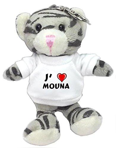 Chat gris peluche porte-clé avec J'aime Mouna (Noms/Prénoms)
