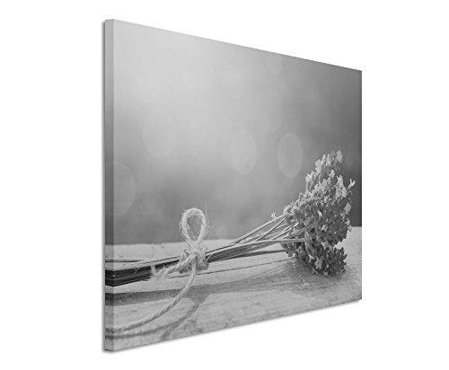 50x70cm Leinwandbild schwarz weiß in Topqualität Blume Lavendel Dekoration
