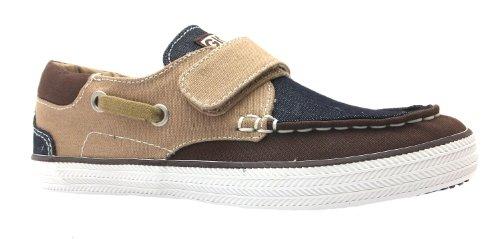 Boy's Nelion Gioseppo Dark Brown & Camel Velcro Canvas Boat Shoes