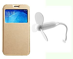 Novo Style Samsung Galaxy J2 Window View Premium Flip Cover Case W Stand View + Mini USB Fan Adjust Angle / bendable Portable Flexible USB Fan