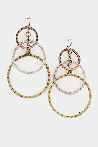 Karmas Canvas Hammered Circle Triple Dangle Earring (Tri Tone)