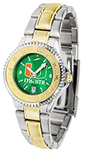 Miami Hurricanes Competitor AnoChrome Ladies Watch with Two-Tone Band by SunTime