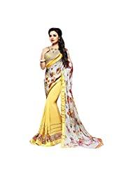 Off White And Yellow Faux Satin Georgette And Faux Georgette Half-and-Half Saree
