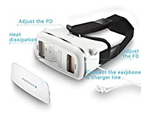 "Feifan 3d Vr Virtual Reality Headset Google Version 3d VR Glasses with Adjustable Strap for 3.5 to 5.7"" inch Smartphone color White from FeiFan"