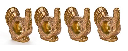 Turkey Shaped Gold-colored Napkin Rings - Set of 4