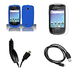 Samsung Dart (T-Mobile) Premium Combo Pack - Blue Silicone Soft Skin Case Cover + Atom LED Keychain Light + Screen Protector + Micro USB Data Cable + Car Charger