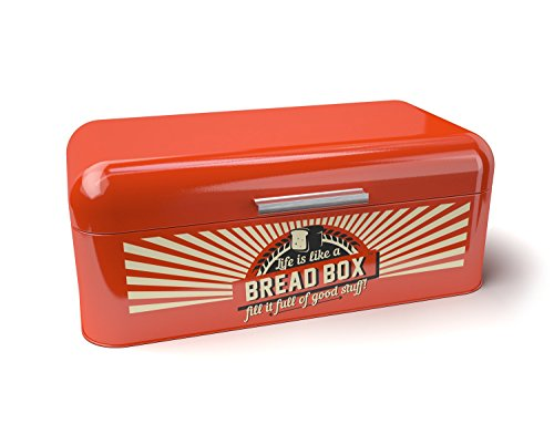 Bridge To Bohdi Retro or Vintage Style Red Stainless Steel Bread Box Or Bin For Kitchen Food Storage (Retro Kitchen Bread Box compare prices)