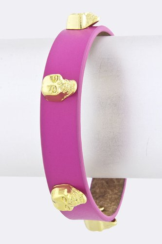 Trendy Fashion Jewelry Skull Studded Bracelet By Fashion Destination | (Fuchsia) front-1076058