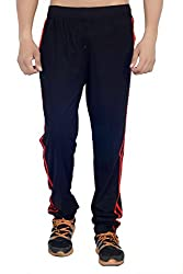 ahhaaaa Black Regular Fit Cotton Trackpant for Men (Large)