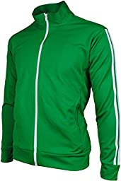 Angel Cola Men\'s Retro Stripes Full Zip-up Track Top Jacket Forest Green M