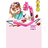 Madsbag Projector Painting Drawing Kit Educational Table Lamp Creativity Toy For Kids (Pink)
