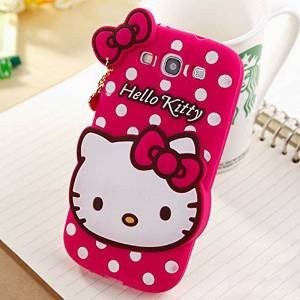 AE Cute cartoon Hello Kitty Silicone With Pendant Back Case Cover For samsung galaxy S3 i9300 (PINK)  available at amazon for Rs.379