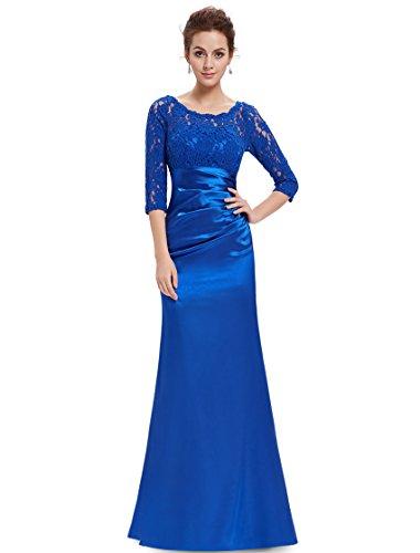 Ever Pretty Womens Long Sleeve Formal Satin Long Bridesmaids Dress 10 US Sapphire Blue