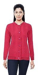 C.B.R Women's Woollen Cardigan (Pink, Medium)