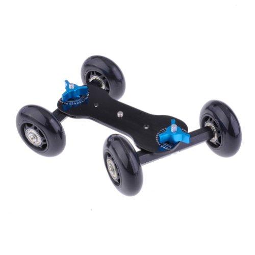 NEEWER® Tabletop Mobile Rolling Slider Dolly Car Skater Video Track Rail for Speedlite DSLR Camera Camcorder Rig (Black)