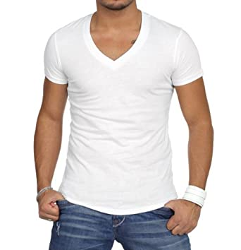 T-shirt casual manches courtes col v homme - Taille S
