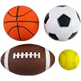Soft PU Mini Sports Balls Pack of 4 (Football, Basketball, Soccer, Baseball)